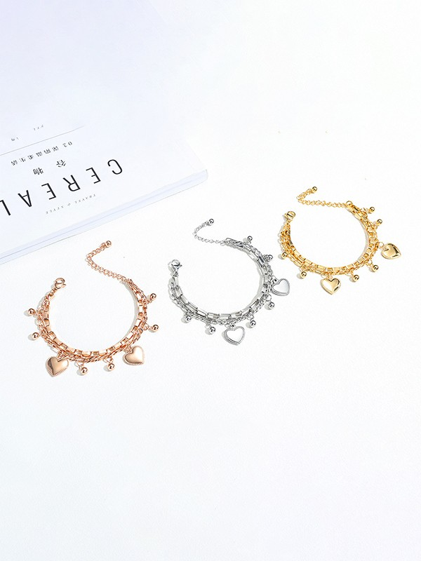 Charming Titanium With Heart Chain Bracelets For Ladies
