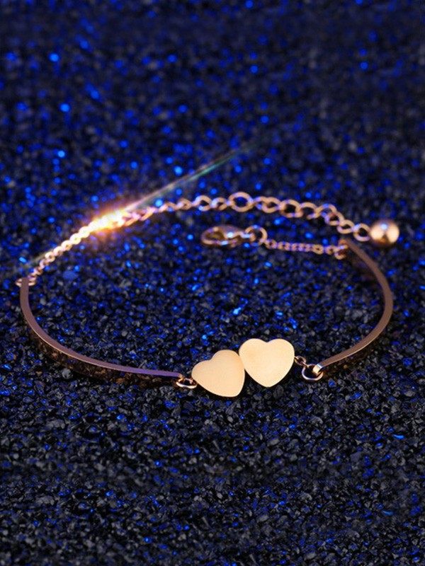 Sweet Titanium With Heart Chain Bracelets For Women