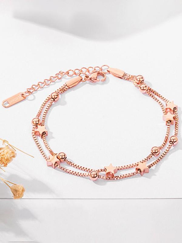 Brilliant Titanium With Star Chain Bracelets For Women