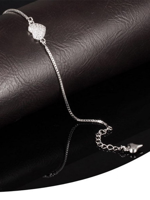 Fashion Alloy With Heart Pattern Chain Bracelets For Ladies