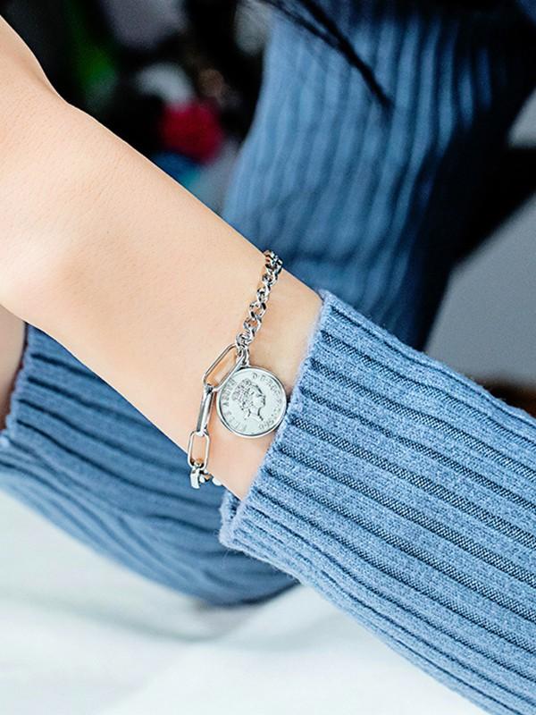 Fancy Titanium With Coin Chain Bracelets For Ladies