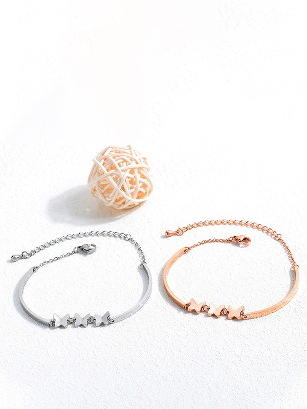 Elegant Titanium With Butterfly Chain Bracelets For Ladies