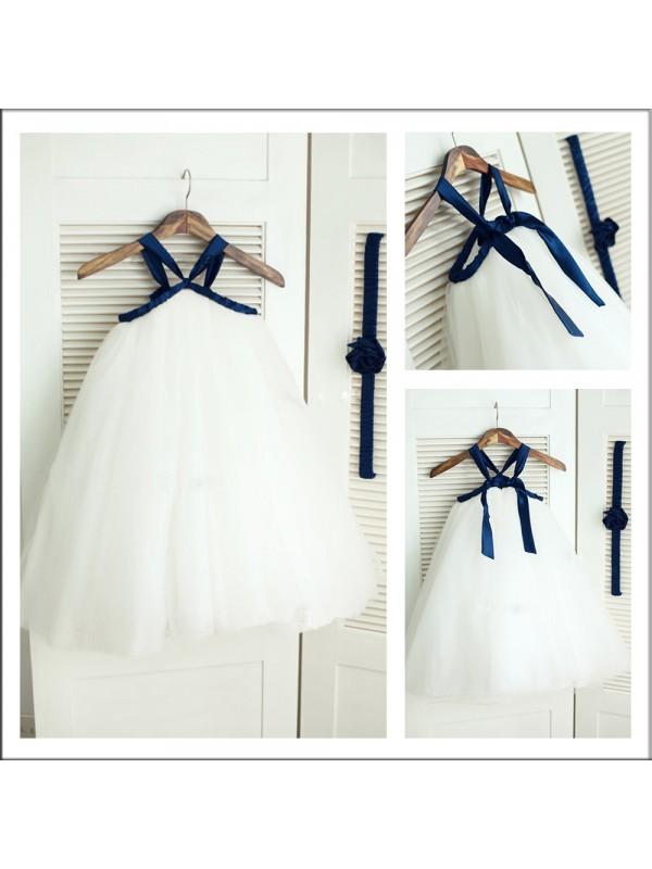 A-Line/Princess Spaghetti Straps Sleeveless Tea-length Tulle Flower Girl Dresses