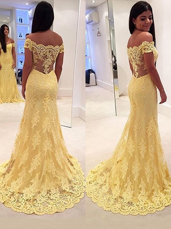 Trumpet/Mermaid Off-the-Shoulder Sleeveless Lace Sweep/Brush Train Dresses