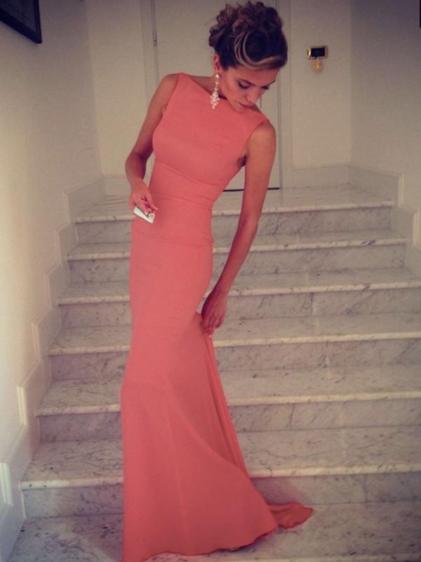 Trumpet/Mermaid High Neck Sleeveless Floor-Length Spandex Dresses