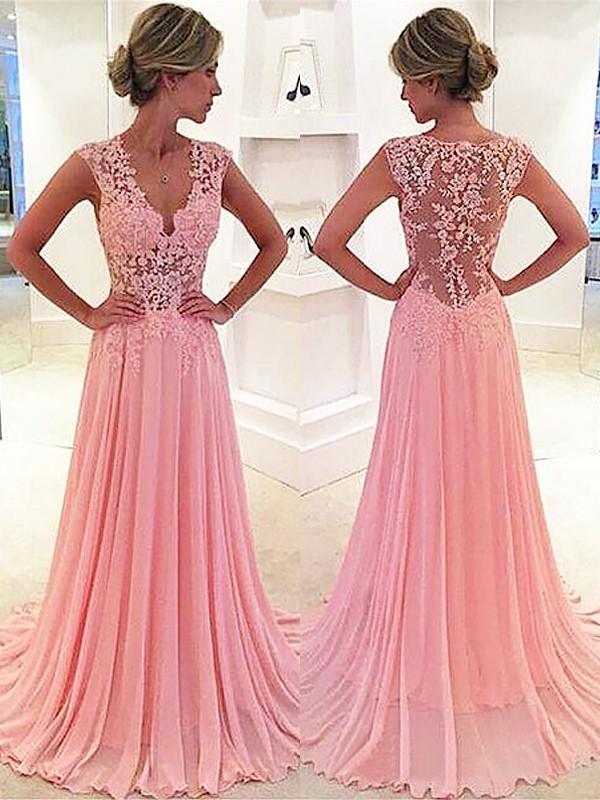 A-Line/Princess Lace V-neck Sleeveless Sweep/Brush Train Chiffon Dresses