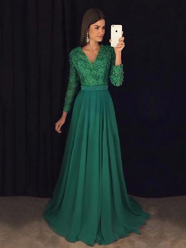 A-Line/Princess Lace V-neck Long Sleeves Sweep/Brush Train Chiffon Dresses