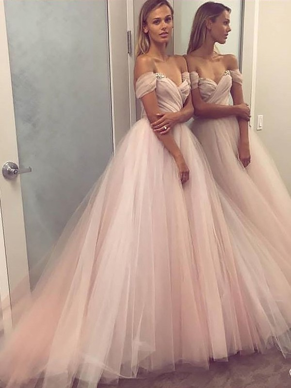 A-Line/Princess Beading Off-the-Shoulder Sleeveless Sweep/Brush Train Tulle Dresses