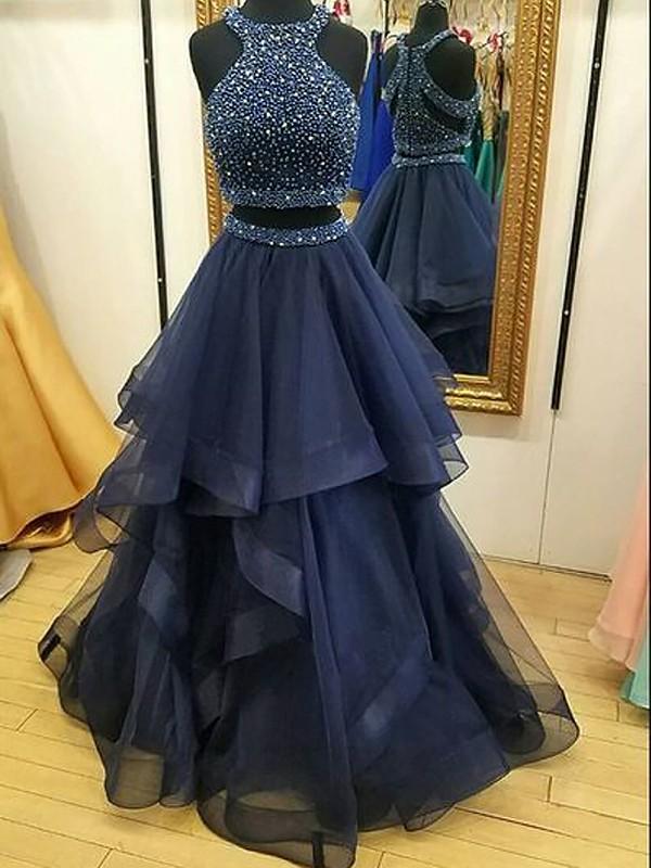 A-Line/Princess Beading Halter Sleeveless Floor-Length Tulle Two Piece Dresses