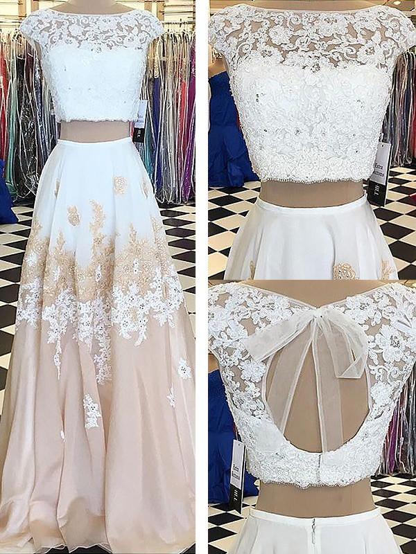 A-Line/Princess Lace Bateau Sleeveless Floor-Length Chiffon Two Piece Dresses