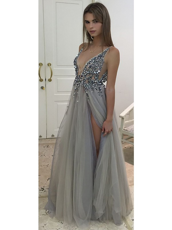 A-Line/Princess Beading V-neck Sleeveless Floor-Length Tulle Dresses