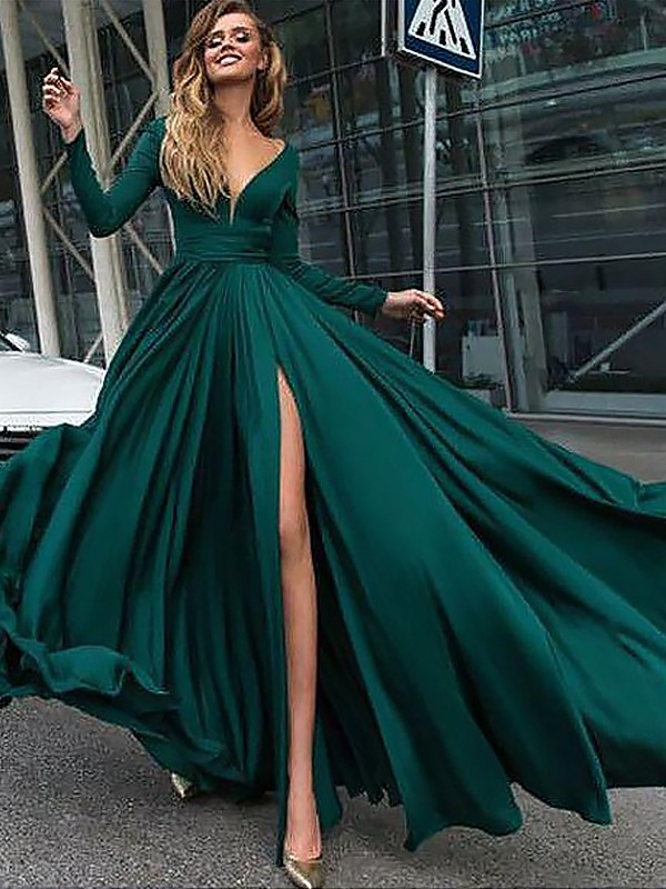 A-Line/Princess Ruffles V-neck Long Sleeves Floor-Length Satin Chiffon Dresses