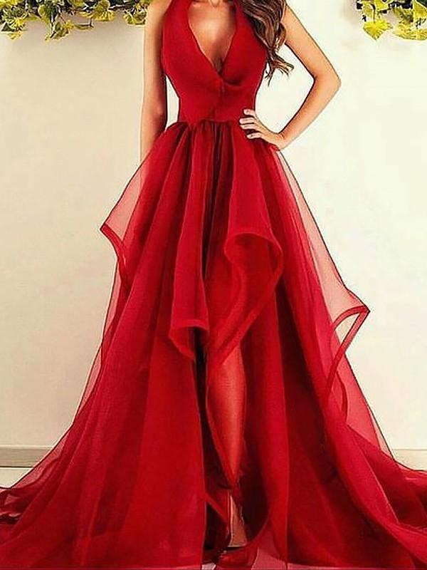 A-Line/Princess Ruffles V-neck Sleeveless Asymmetrical Organza Dresses