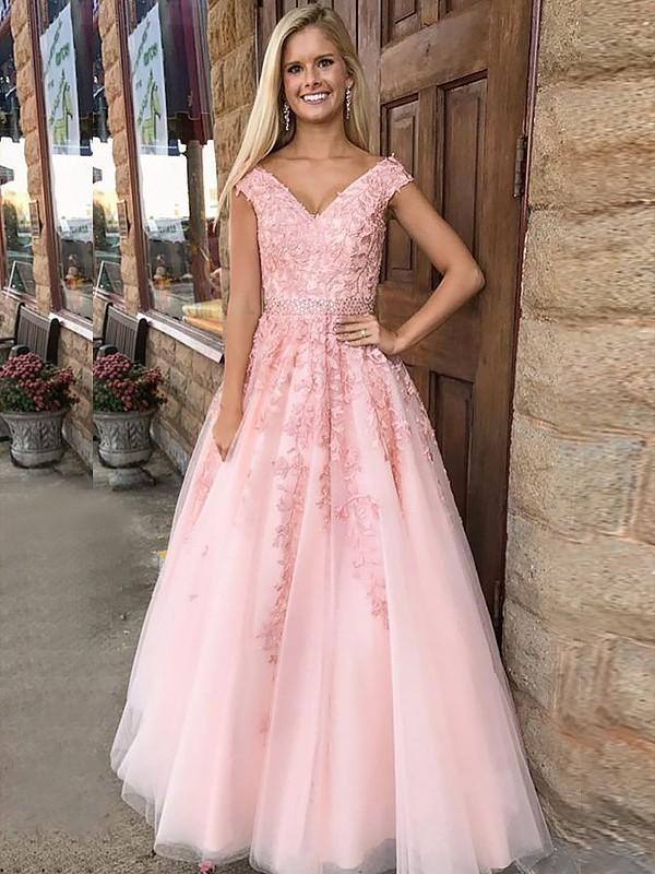 A-Line/Princess Applique V-neck Sleeveless Floor-Length Tulle Dresses