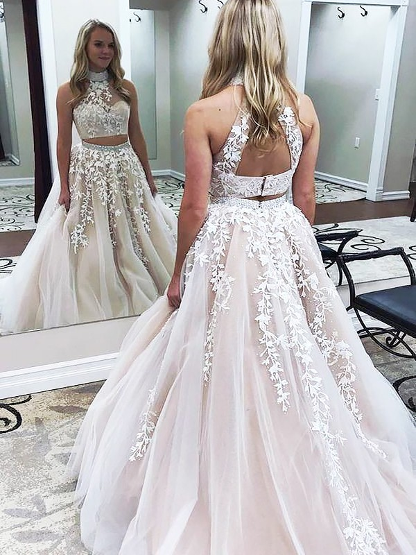 A-Line/Princess Applique High Neck Sleeveless Sweep/Brush Train Tulle Two Piece Dresses