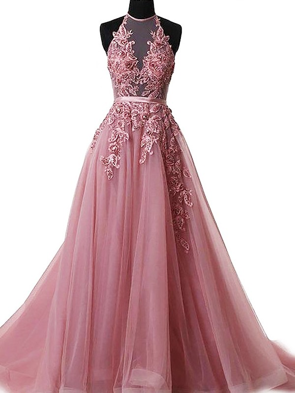 A-Line/Princess Applique Halter Sleeveless Sweep/Brush Train Tulle Dresses
