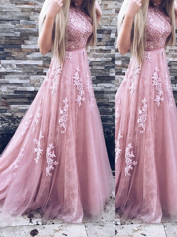 A-Line/Princess Applique Scoop Sleeveless Sweep/Brush Train Tulle Dresses