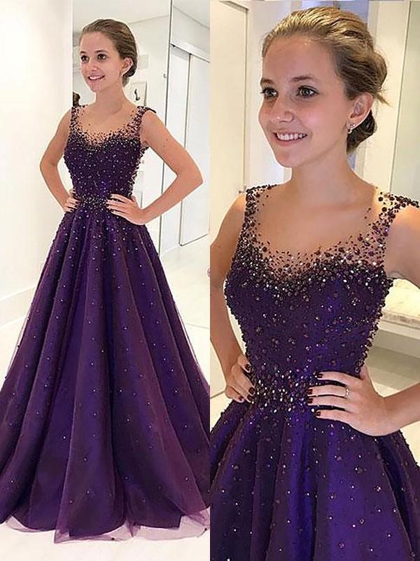 A-Line/Princess Beading Scoop Sleeveless Floor-Length Tulle Dresses