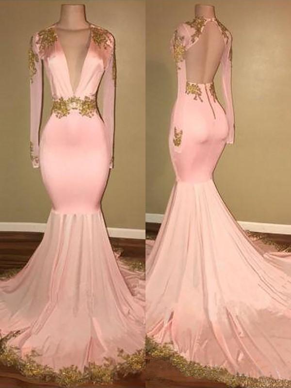 Trumpet/Mermaid Applique V-neck Long Sleeves Sweep/Brush Train Silk like Satin Dresses