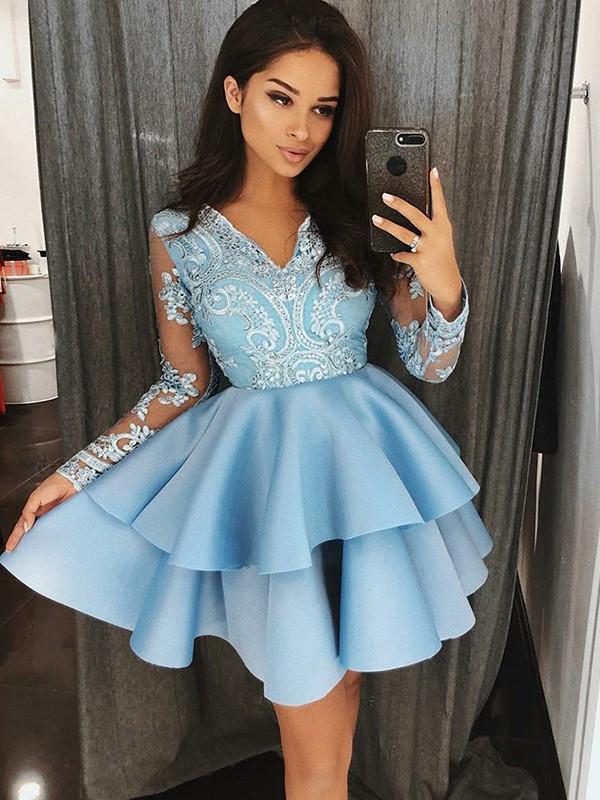 A-Line/Princess Applique V-neck Long Sleeves Short/Mini Satin Dresses