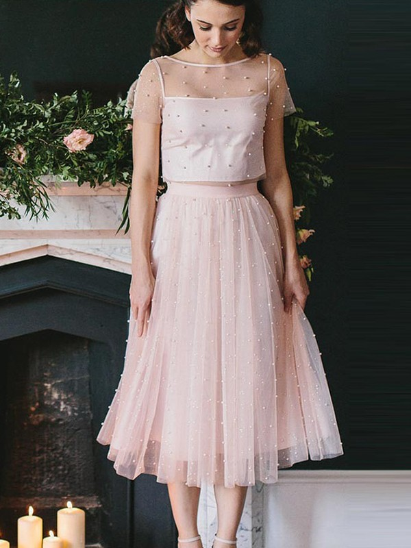 A-Line/Princess Scoop Short Sleeves Tea-Length Tulle Two Piece Dresses