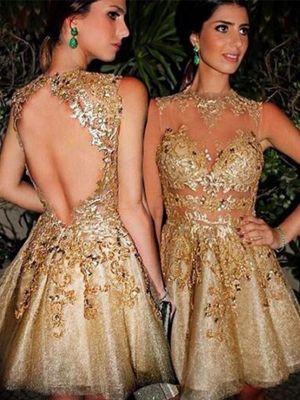 A-Line/Princess Applique Bateau Sleeveless Short/Mini Tulle Dresses