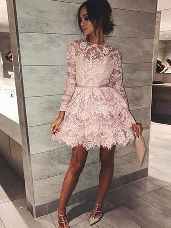 A-Line/Princess Beading Bateau Long Sleeves Short/Mini Lace Dresses