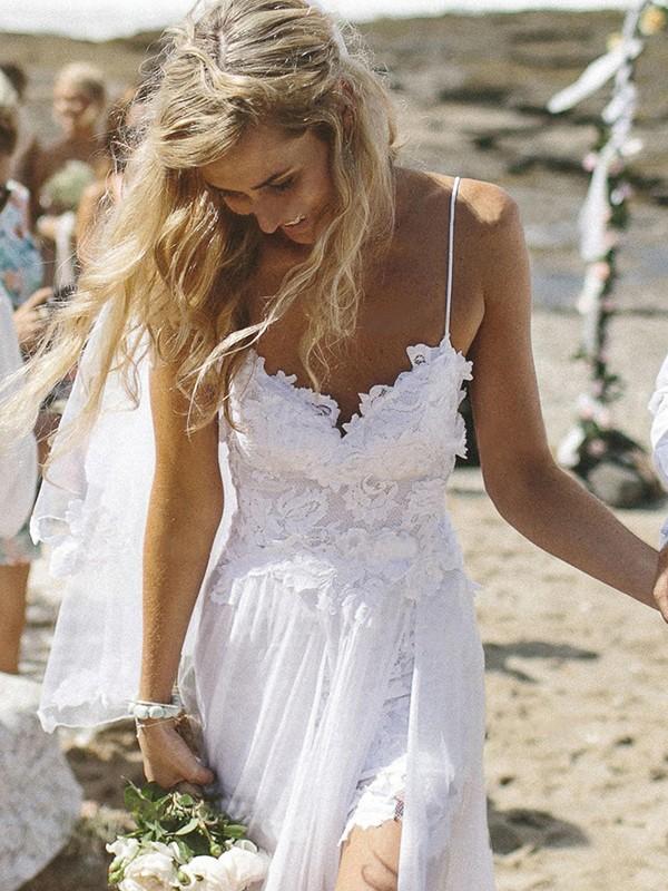 A-Line/Princess Applique V-neck Sleeveless Floor-Length Chiffon Wedding Dresses