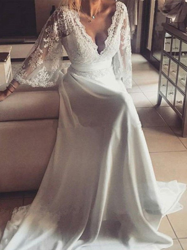 A-Line/Princess Sash/Ribbon/Belt V-neck Long Sleeves Court Train Lace Wedding Dresses
