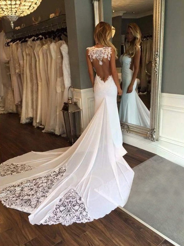 Trumpet/Mermaid Applique Sweetheart Sleeveless Cathedral Train Lace Wedding Dresses