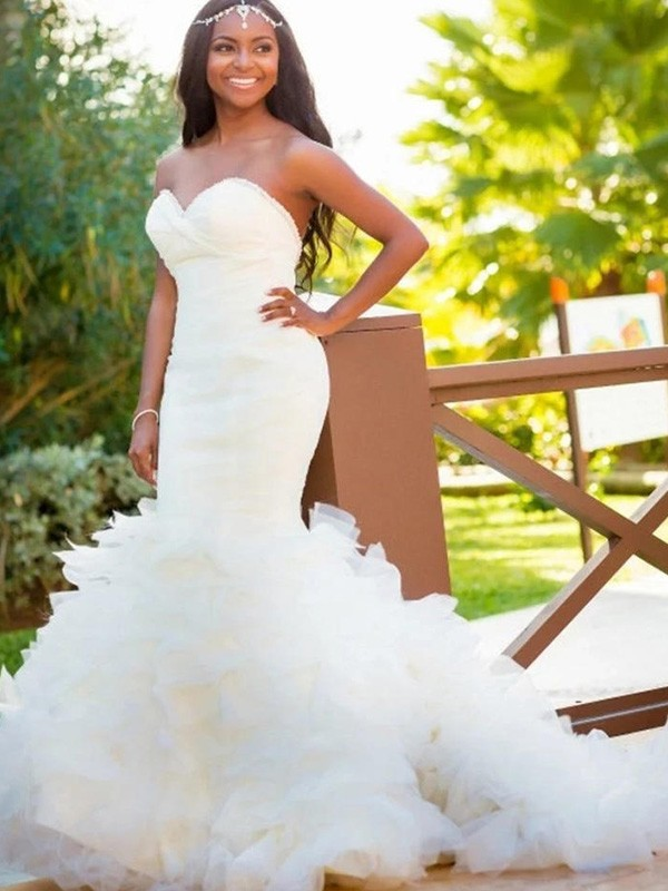 Trumpet/Mermaid Sweetheart Sleeveless Court Train Organza Wedding Dresses