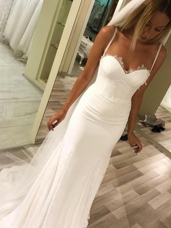 Sheath/Column Sweetheart Sleeveless Sweep/Brush Train Satin Wedding Dresses