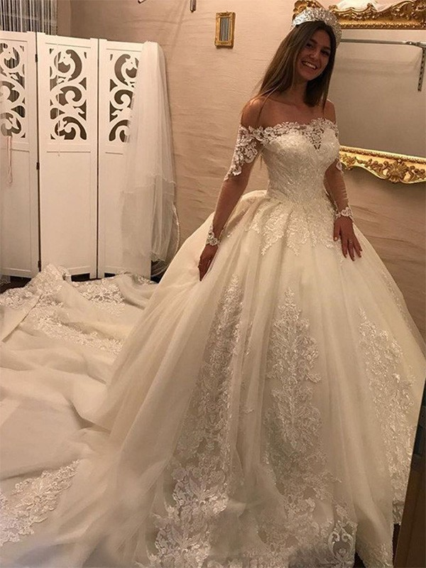 Ball Gown Applique Off-the-Shoulder Long Sleeves Cathedral Train Tulle Wedding Dresses