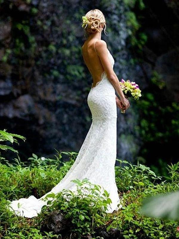 Sheath/Column V-neck Sleeveless Court Train Lace Wedding Dresses