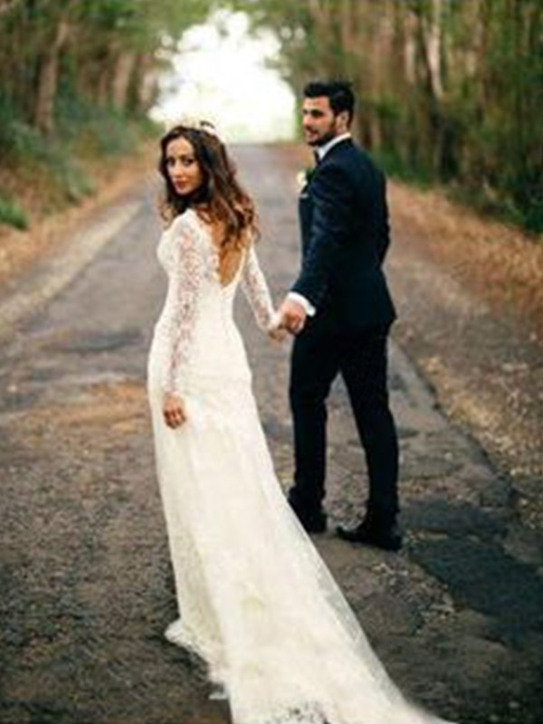 Sheath/Column Applique V-neck Long Sleeves Court Train Lace Wedding Dresses