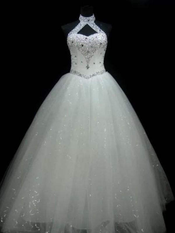 Ball Gown Beading Halter Sleeveless Floor-Length Tulle Wedding Dresses