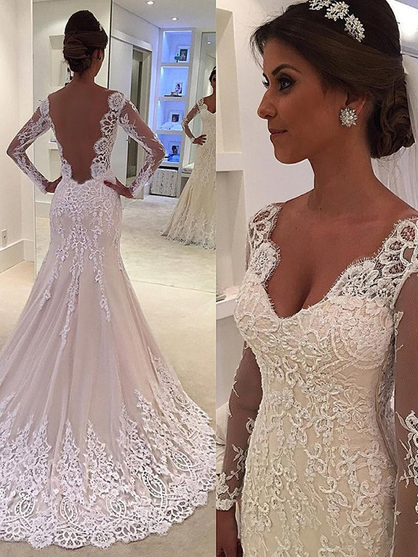 Trumpet/Mermaid Lace V-neck Long Sleeves Court Train Lace Wedding Dresses