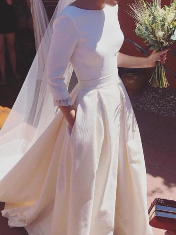 A-Line/Princess Ruffles Scoop 3/4 Sleeves Sweep/Brush Train Satin Wedding Dresses