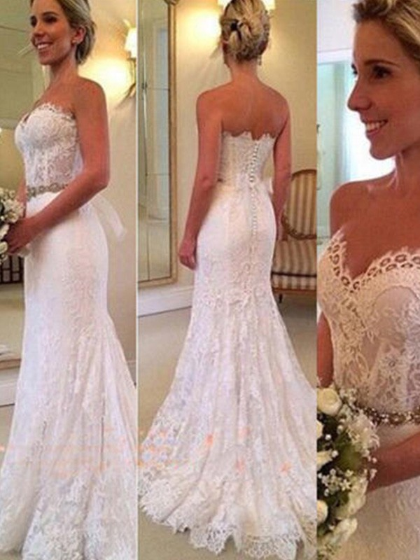 Trumpet/Mermaid Applique Sweetheart Sleeveless Sweep/Brush Train Lace Wedding Dresses
