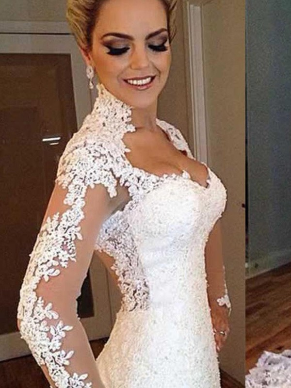 Trumpet/Mermaid Applique V-neck Long Sleeves Sweep/Brush Train Lace Wedding Dresses