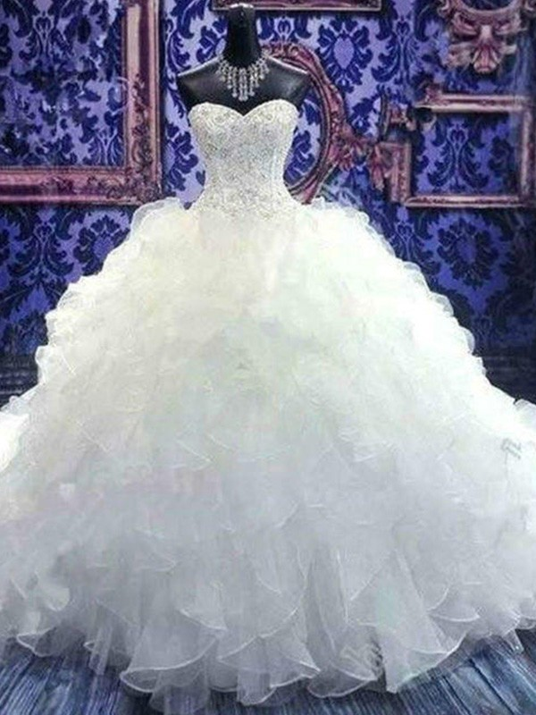 Ball Gown Beading Sweetheart Sleeveless Chapel Train Organza Wedding Dresses