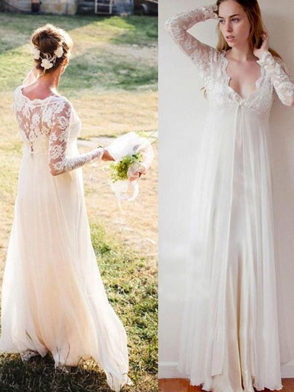 Empire Lace V-neck Long Sleeves Floor-Length Chiffon Wedding Dresses