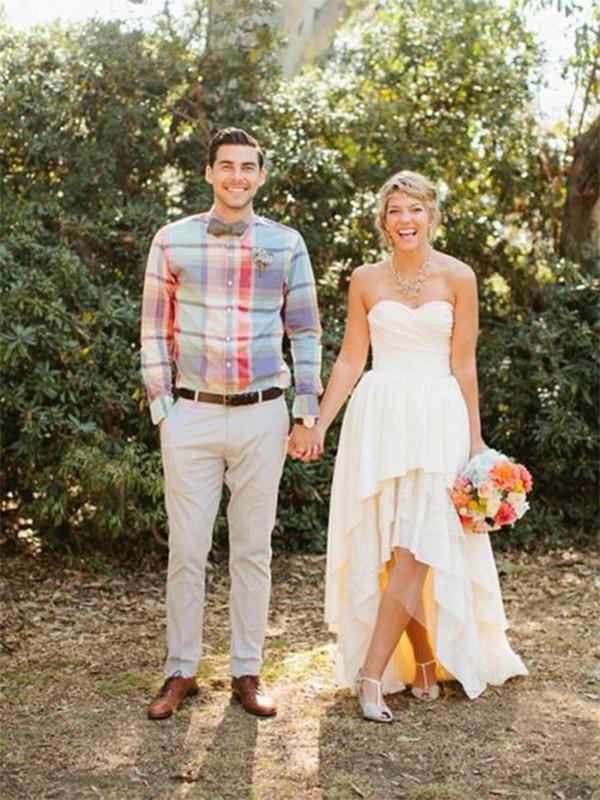 A-Line/Princess Ruffles Sweetheart Sleeveless Asymmetrical Chiffon Wedding Dresses