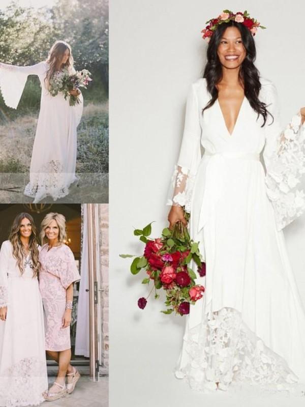 A-Line/Princess Sash/Ribbon/Belt V-neck Long Sleeves Floor-Length Chiffon Wedding Dresses