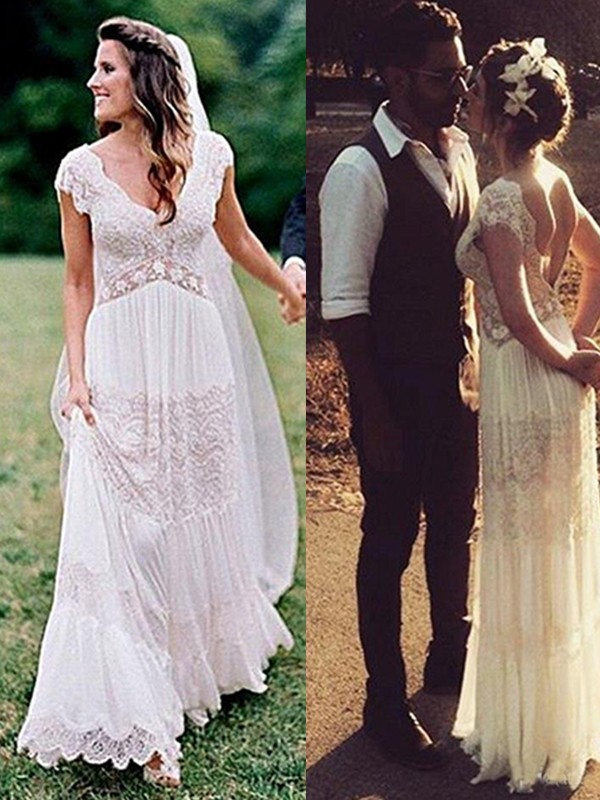 A-Line/Princess Ruched V-neck Short Sleeves Floor-Length Lace Wedding Dresses