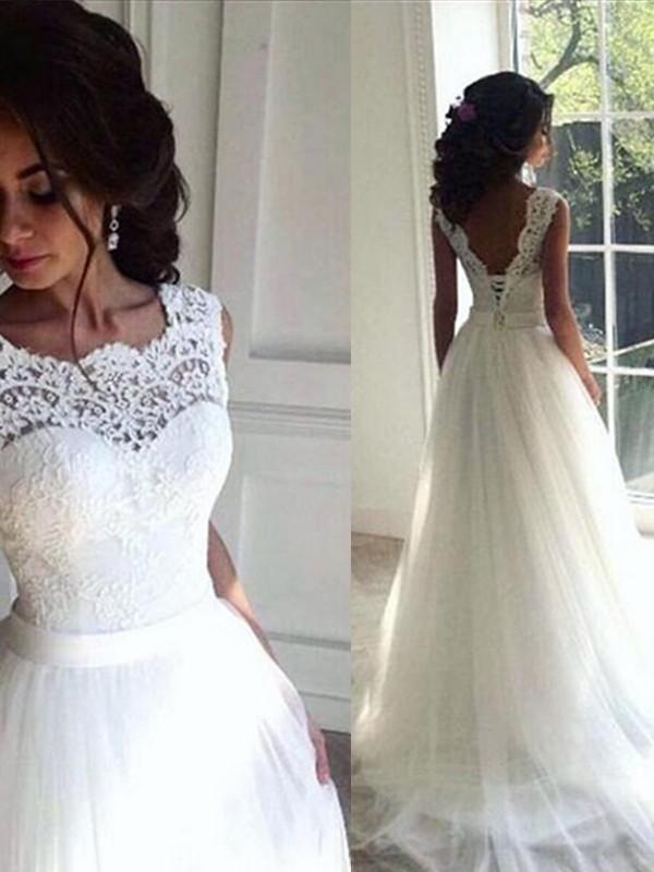 A-Line/Princess Sash/Ribbon/Belt Bateau Sleeveless Sweep/Brush Train Tulle Wedding Dresses
