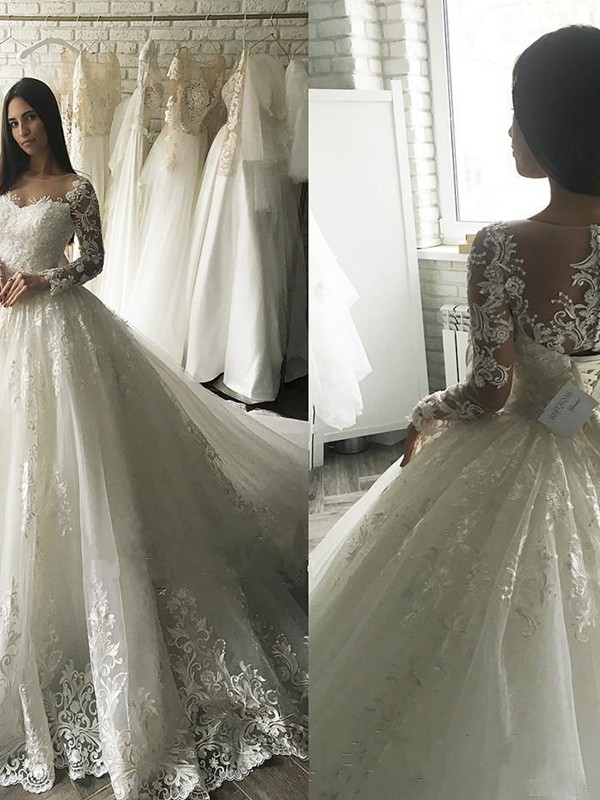 Ball Gown Applique Scoop Long Sleeves Court Train Tulle Wedding Dresses