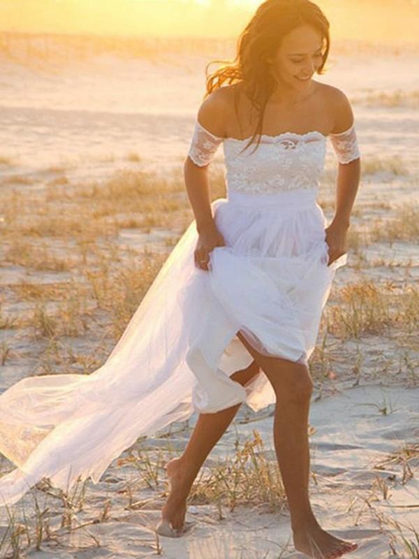 A-Line/Princess Lace Off-the-Shoulder Sleeveless Floor-Length Chiffon Wedding Dresses