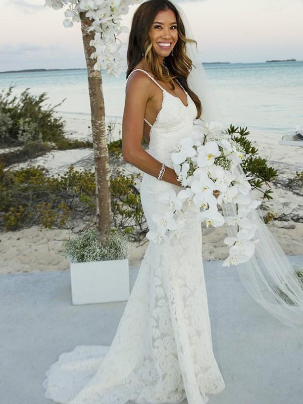 Trumpet/Mermaid Lace Spaghetti Straps Sleeveless Sweep/Brush Train Lace Wedding Dresses