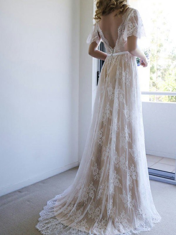 A-Line/Princess Sash/Ribbon/Belt V-neck Short Sleeves Sweep/Brush Train Lace Wedding Dresses